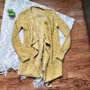 aerie mustard chunky knit open waterfall cardigan